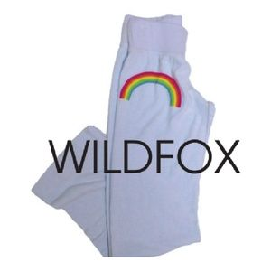 Wildfox light blue terry sweatpants with rainbow S